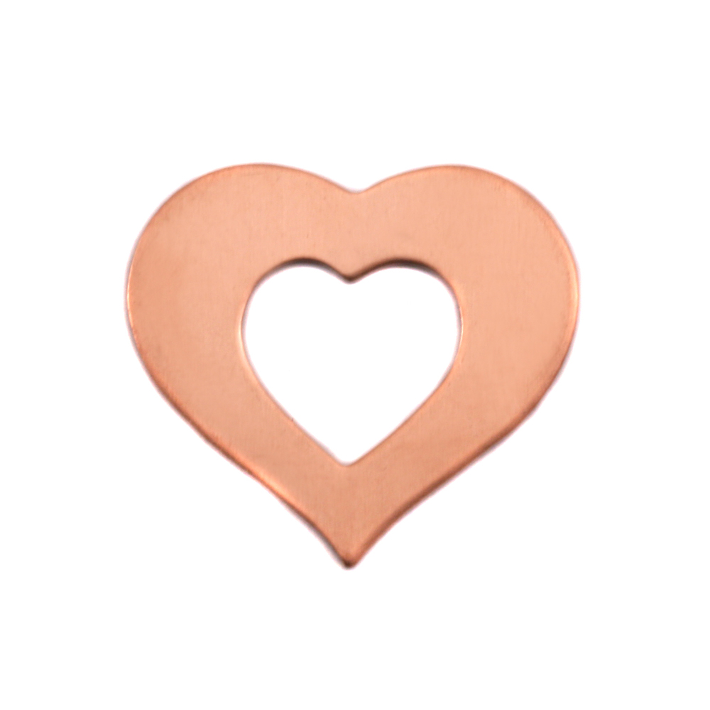 "Metal Stamping Blanks Copper Heart Washer, 24mm (.94"") x 22mm (.87""), 24g"